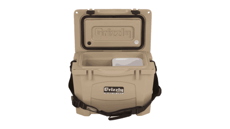 grizzly 15 tan cooler lid open with carry strap