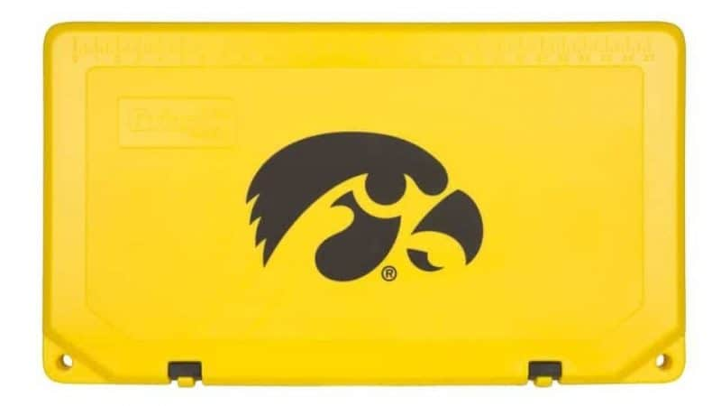 yellow grizzly cooler lid with black iowa hawkeyes logo