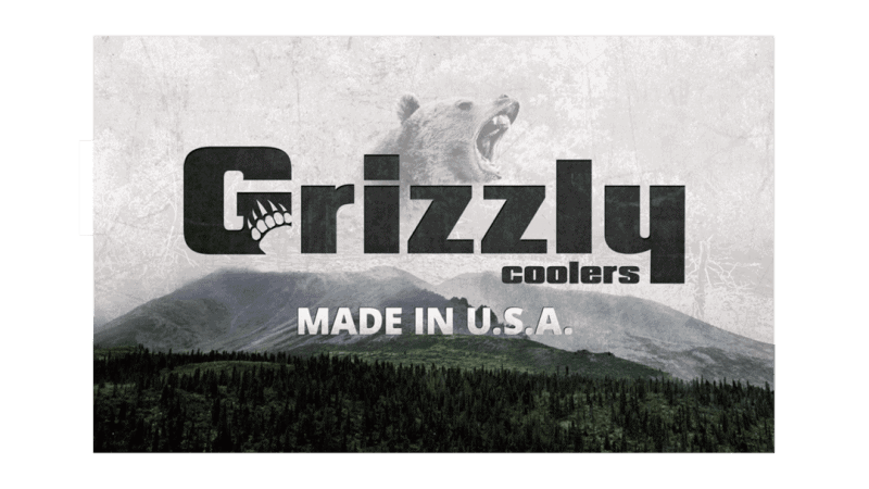 front view of grizzly coolers made in USA banner