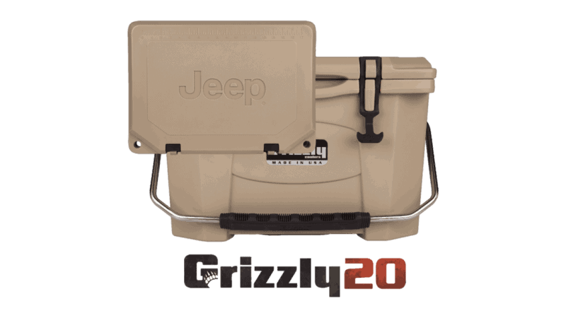 custom jeep logo 20 quart cooler with debossed jeep logo on lid