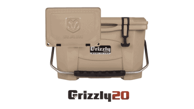 Grizzly 20 Hard sided cooler with embossed dodge ram logo on lid