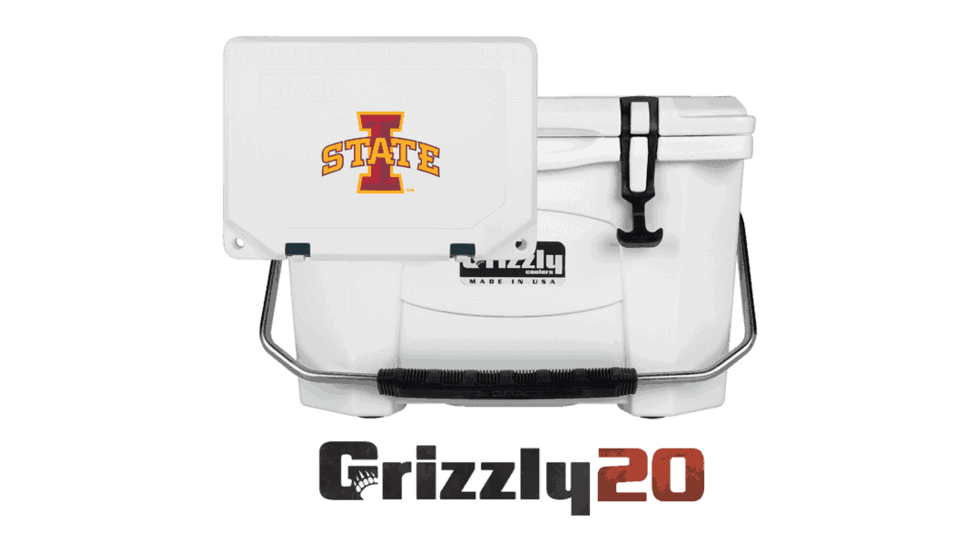 white grizzly 20 cooler lid with iowa state logo