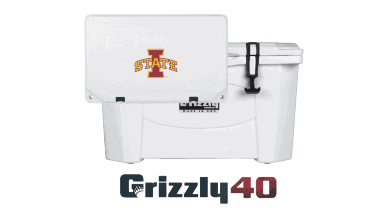 white grizzly 40 cooler lid with iowa state logo