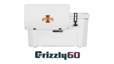 grizzly 60 cooler with iowa state logo on lid