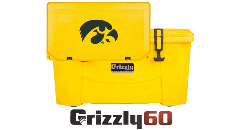 Iowa Hawkeyes Logo On Yellow Grizzly 60 Cooler