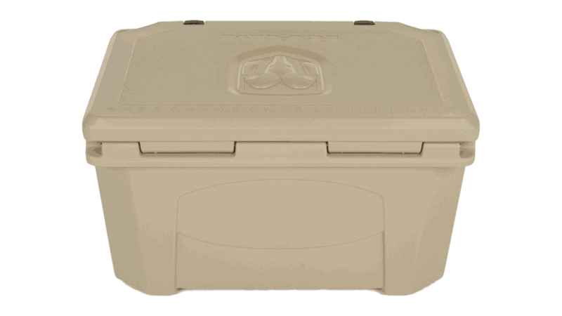 back side view with lid closed of debossed dodge ram grizzly cooler