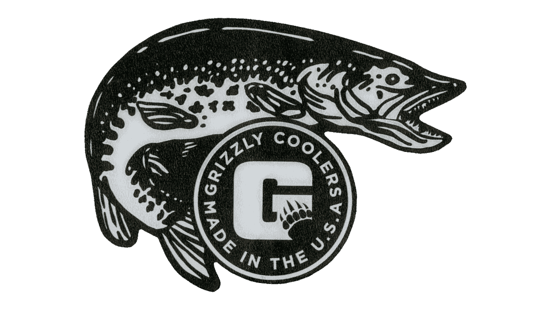 grizzly coolers northern pike sticker for coolers