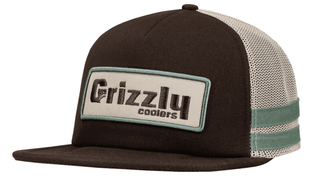 grizzly hat with flat bill and snapback fit. grizzly coolers badge logo on front
