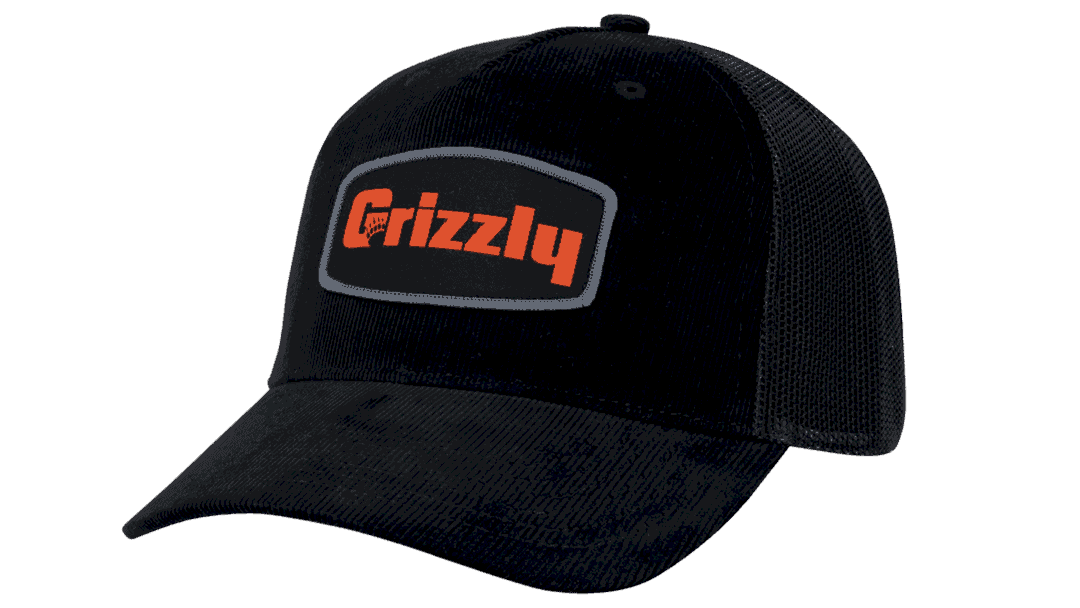 grizzly hat black corduroy with orange grizzly coolers logo