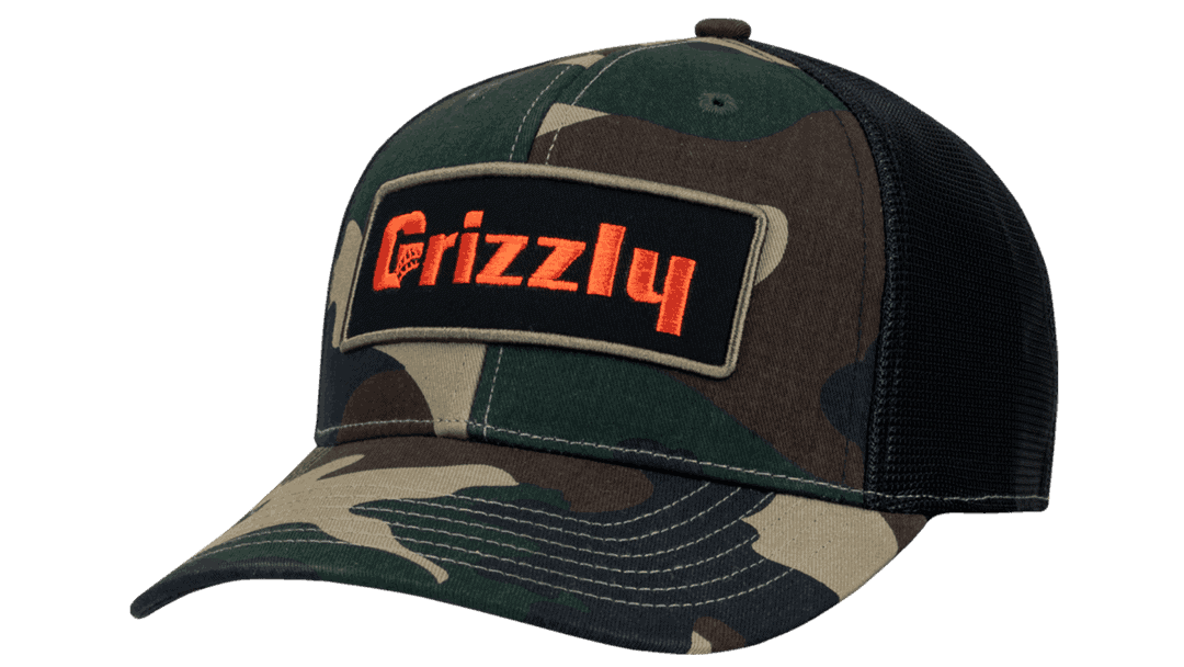Black Grizzly Coolers Off Set Mesh Hat