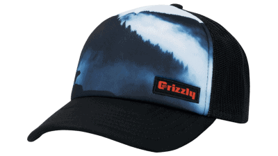 grizzly hat with landscape background and grizzly coolers logo