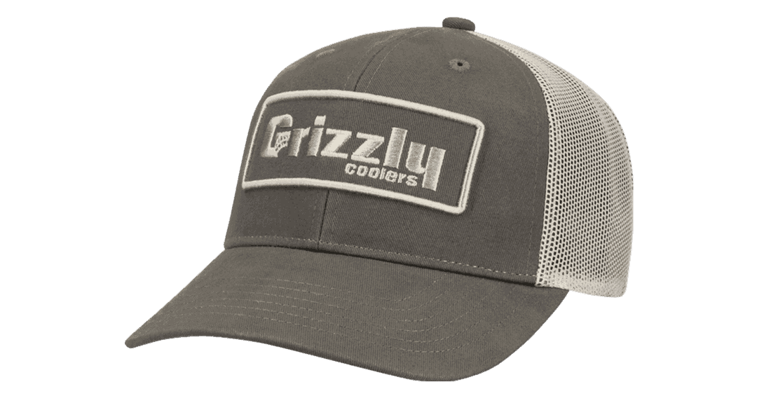 grizzly hat, olive and mesh snapback fit cap with grizzly coolers badge on front