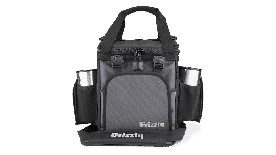 black/gunmetal drifter 12+ soft sided cooler with grip cups in pockets