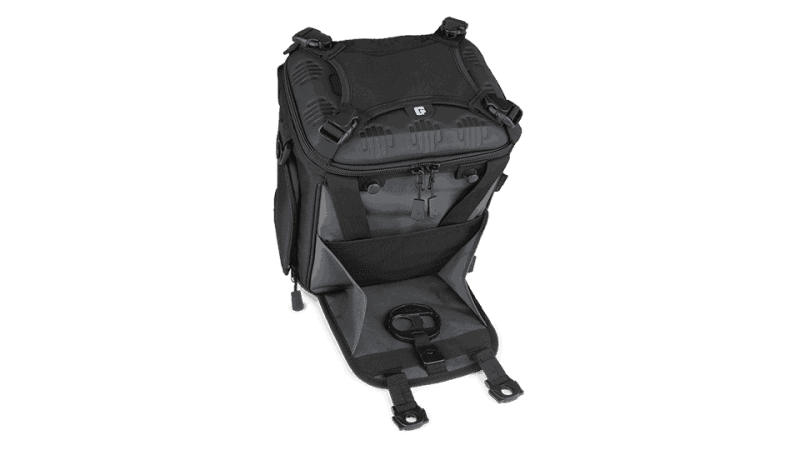 drifter 12 black/gunmetal soft sided cooler front view with front pocket open