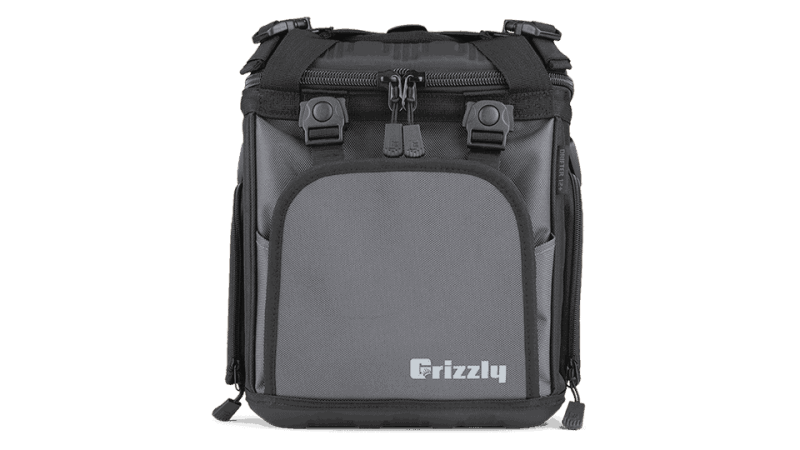 drifter 12+ black/gunmetal soft sided cooler bag front view