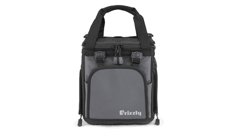 drifter 12+ black/gunmetal soft sided cooler front view