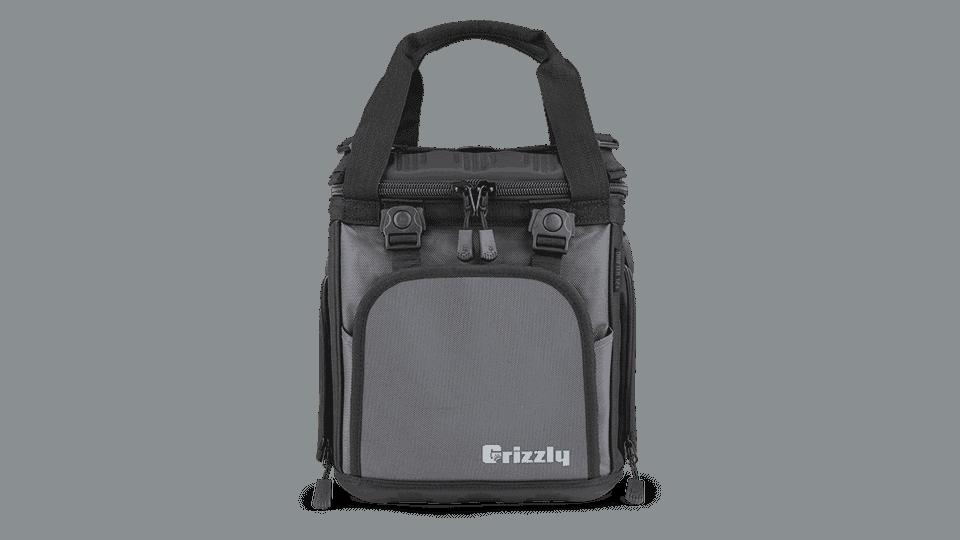 drifter 12+ black/gunmetal soft sided cooler front view