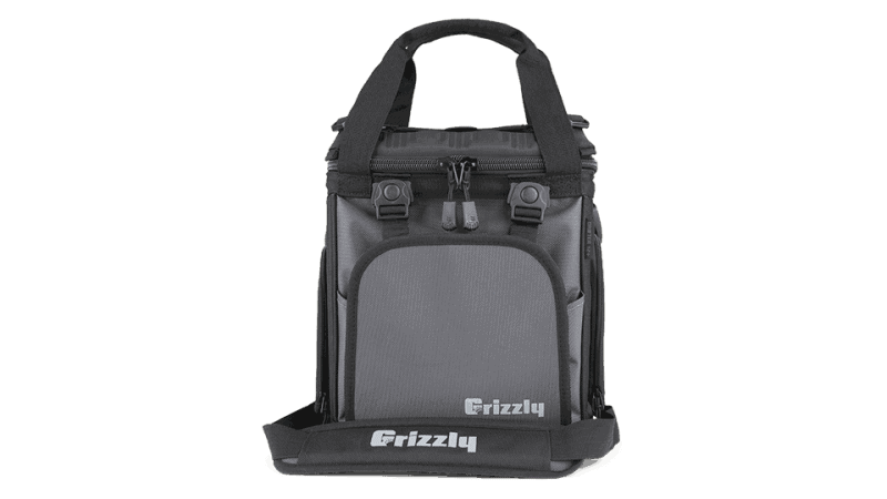 grizzly soft cooler bag in black/gunmetal