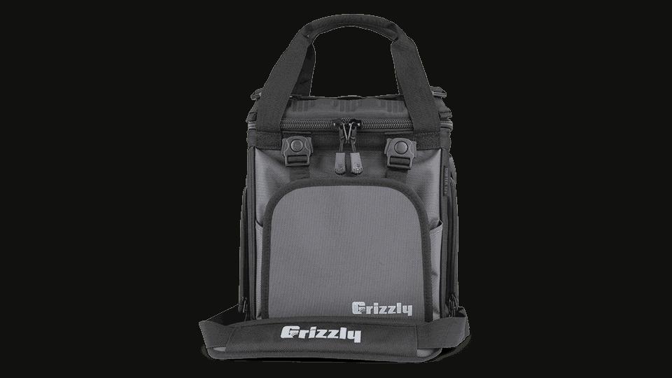 grizzly soft cooler bag in black/gunmetal