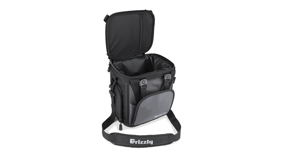angled front view looking into grizzly drifter 12+ with lid open