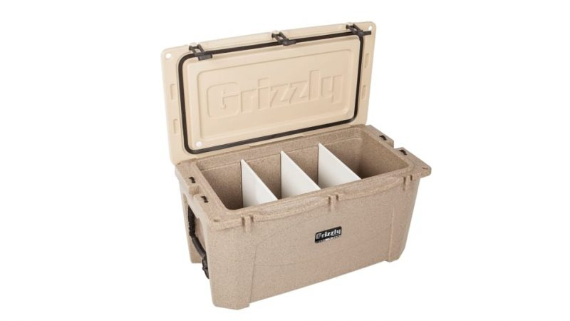 3 folding cutting boards in grizzly 40 quart cooler