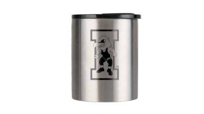 insulated coffee cup with black iowa hawkeye wrestling logo