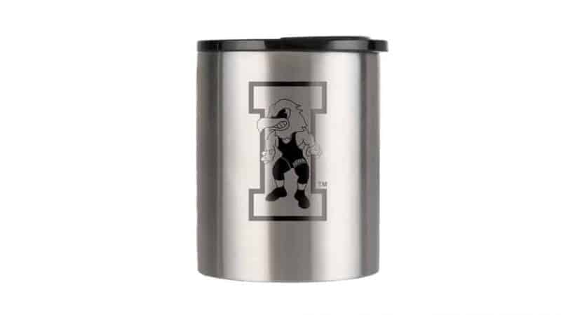 insulated coffee cup with black iowa hawkeye wrestling logo