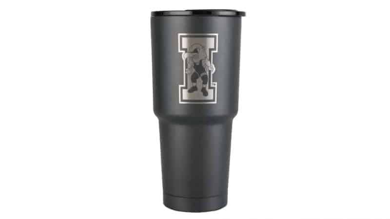 front view of 32 oz textured charcoal iowa hawkeyes wrestling stainless steel cup
