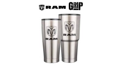 Dodge Ram logos on Grizzly grip cups