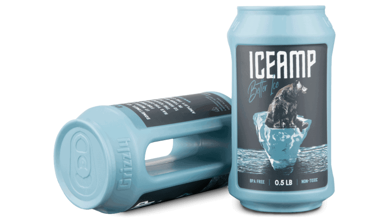 Reusable Ice packs- 2 ICEAMPS one front label profile and one laying down on side