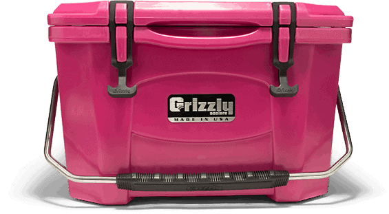 front view of grizzly 20 hard sided pink cooler