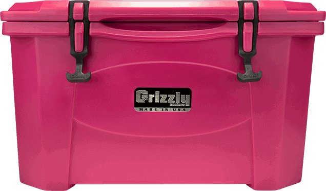 grizzly 40 quart rotomolded pink cooler, lid closed front view