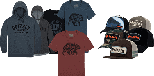 grizzly coolers gear, shirts, hoodies, hats
