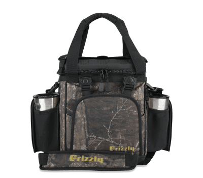 front view of grizzly drifter 12+ soft sided cooler with realtree timber camo