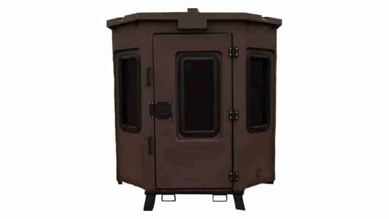 rotomolded hunting blind front view with door shut
