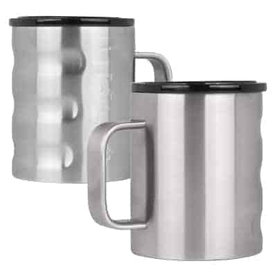 insulated coffee cup in brushed stainless finish