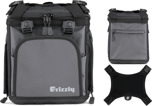 soft cooler bag customization options. front view, back view, top view
