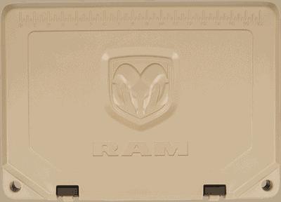 dodge ram debossed logo on rotomolded cooler lid