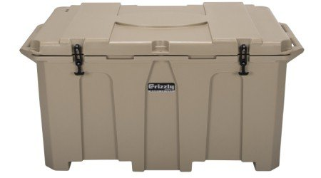 tan grizzly 400 cooler front view with lid closed