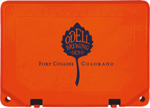 custom cooler example with odell brewing company logo on cooler lid