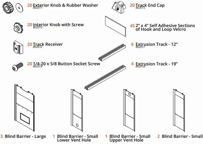 how to install box blind insulation, parts list