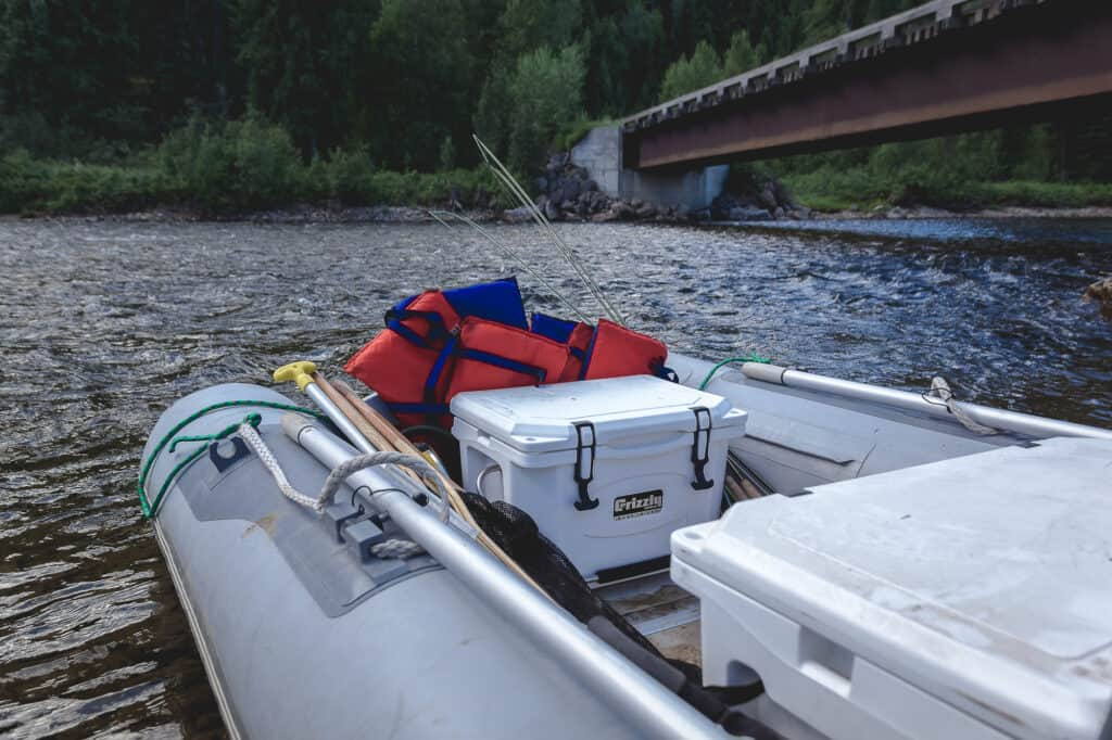 Top Coolers For Boating, White Grizzly 40 Hard Sided Cooler In Boat