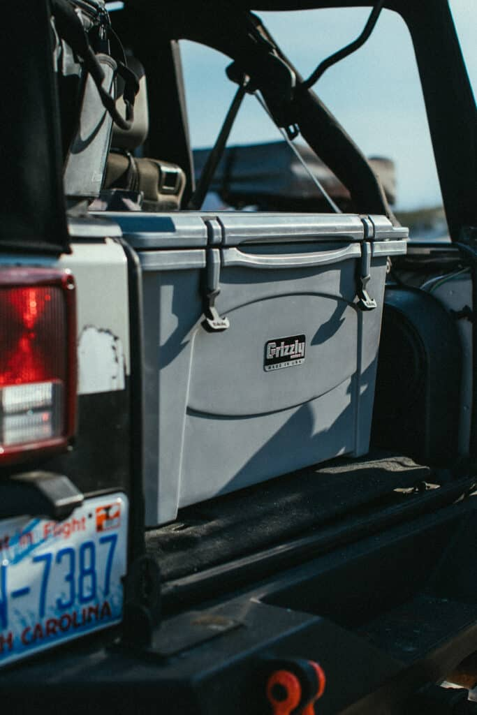 Grizzly 40 Cooler In Back Of Jeep On Dalton Highway