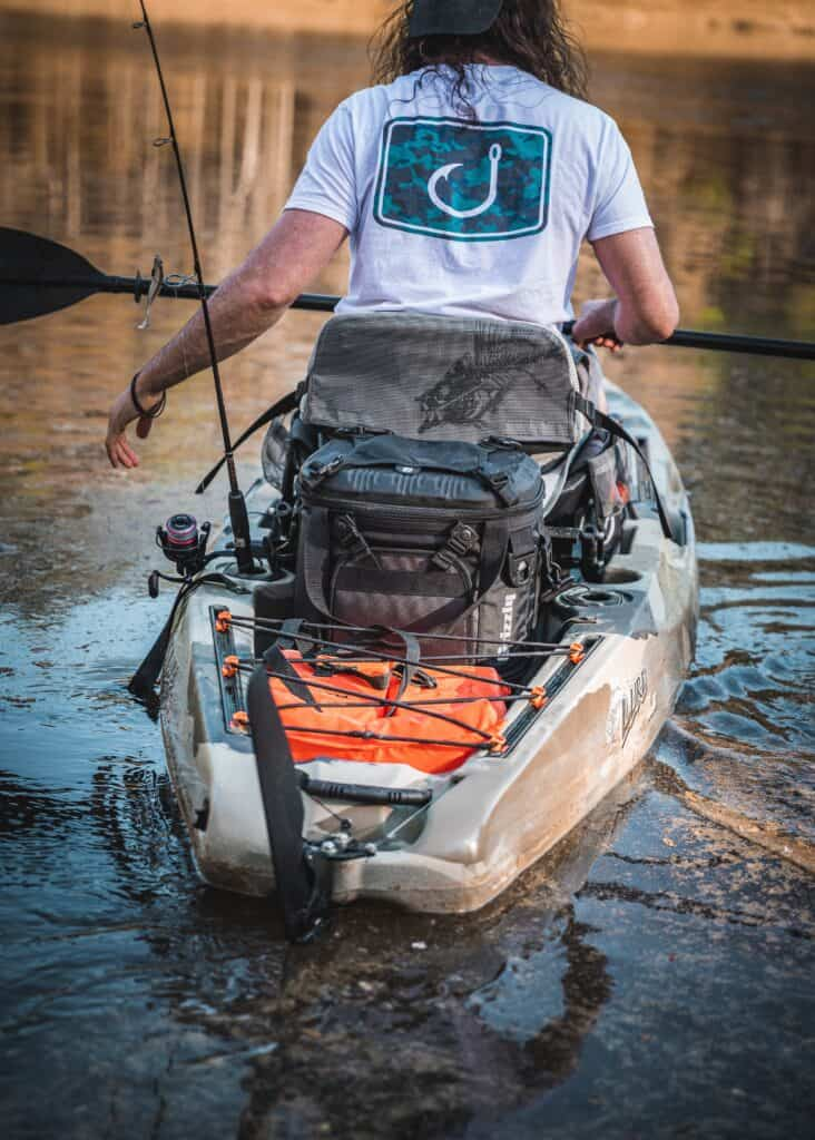 Kayak Bass Fishing With Drifter Soft Side Cooler In Back Of Kayak