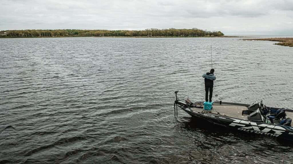 Mille Lacs Lake Fishing With Matt Peters Standing On Grizzly 20 Cooler, Landscape Image