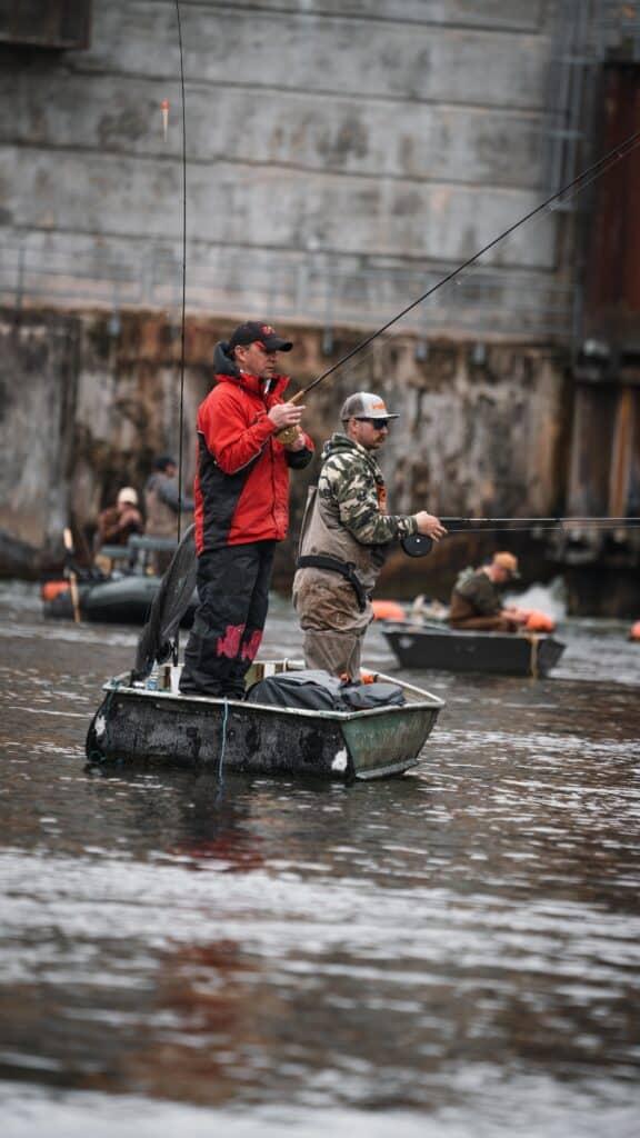 Michigan Steelhead Fishing From Boat Near A Dam