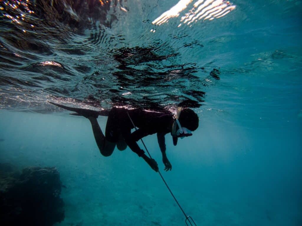 Man Snorkeling While Spear Fishing