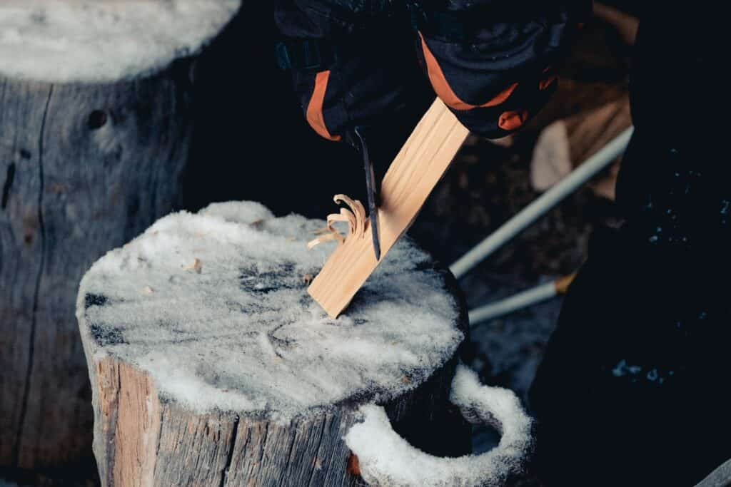 Making Kindling With An Axe