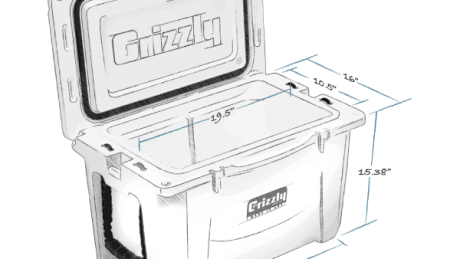 grizzly 40 hard cooler lid open with internal and external dimensions