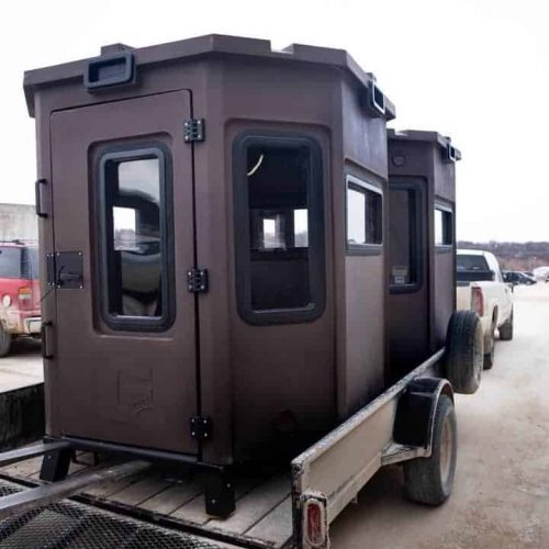 grizzly box blind loaded onto trailer for transport